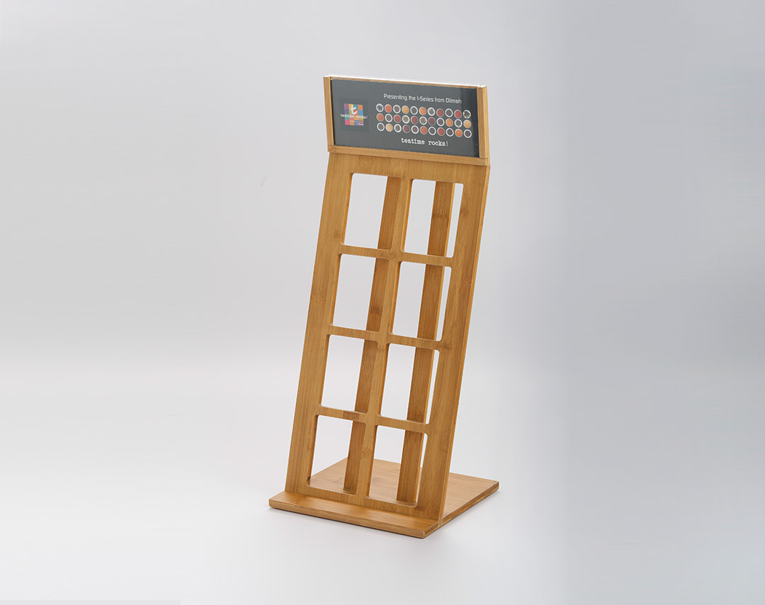 Bamboo 8 Slots Vertical Tin Caddy Display Rack