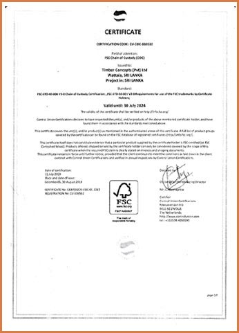 Timber Concepts received Chain of Custody Certification by Forest Stewardship Council