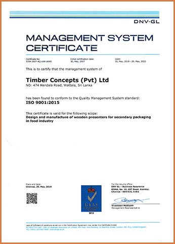 Timber Concepts received ISO 9001:2015 Quality Management System Certification by DNV GL Business Assurance